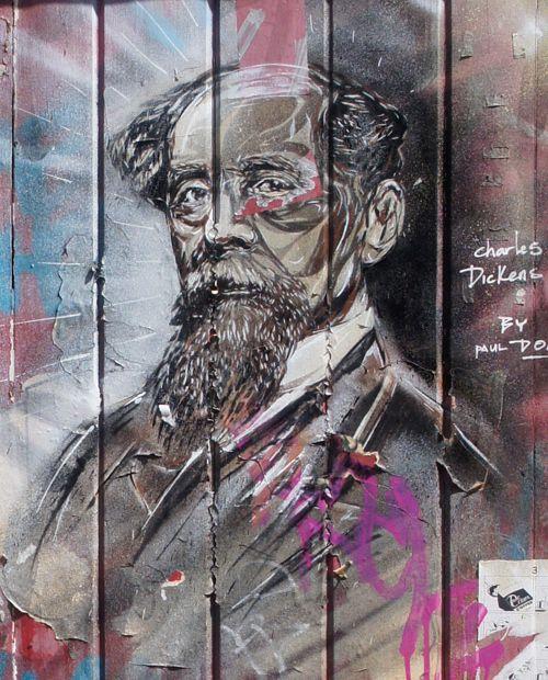 Charles Dickens street art, London