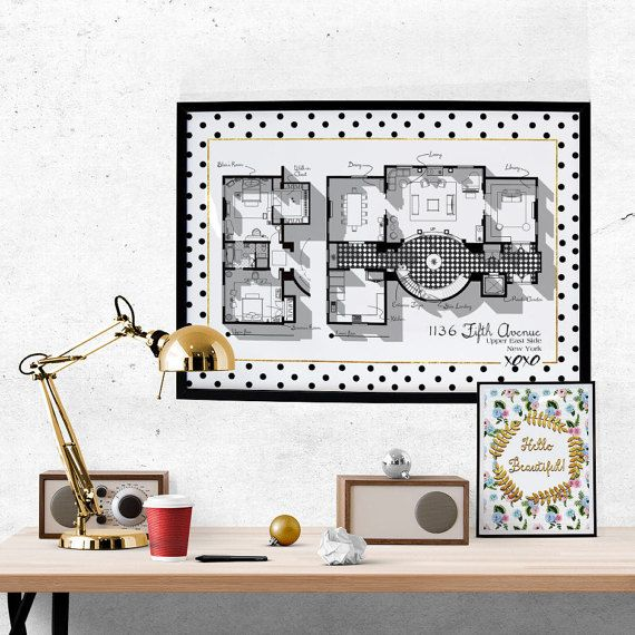 Gossip Girl Apartment Floor Plan - TV Show Floor Plan- Blair Waldorf Apartment Complete Plan/1136 Fifth Avenue/ Glam Poster