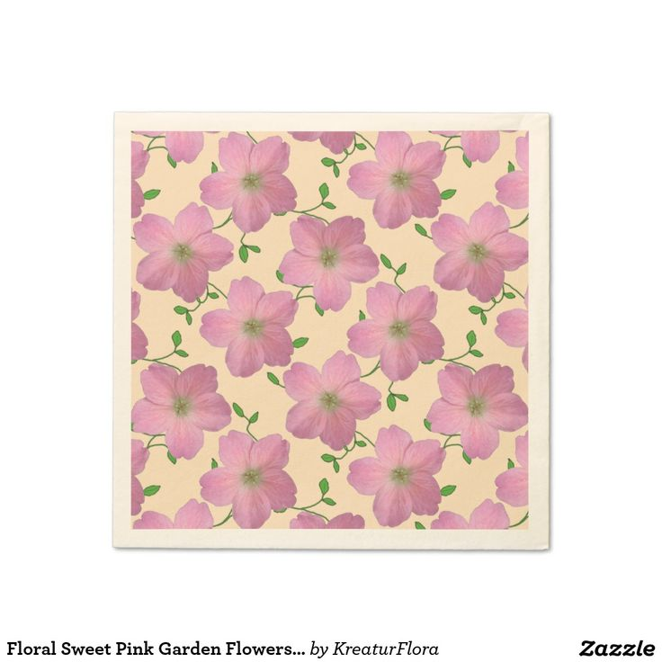Floral Sweet Pink Garden Flowers on any Color Napkins