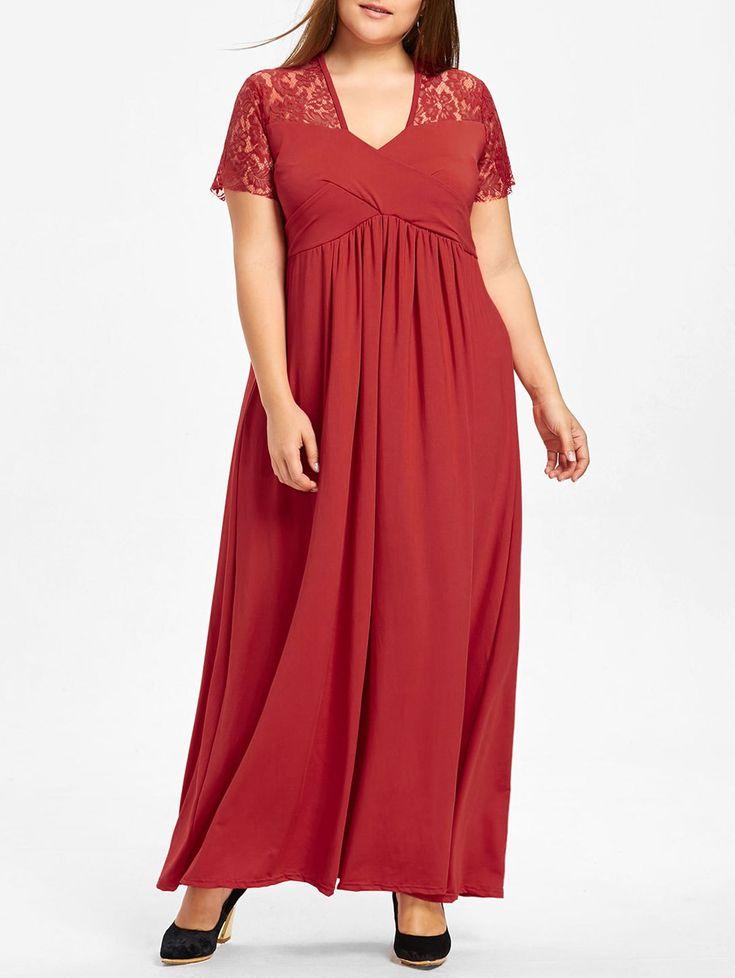 Plus Size Lace Yoke Surplice Maxi Dress in Red 5xl   $21.14