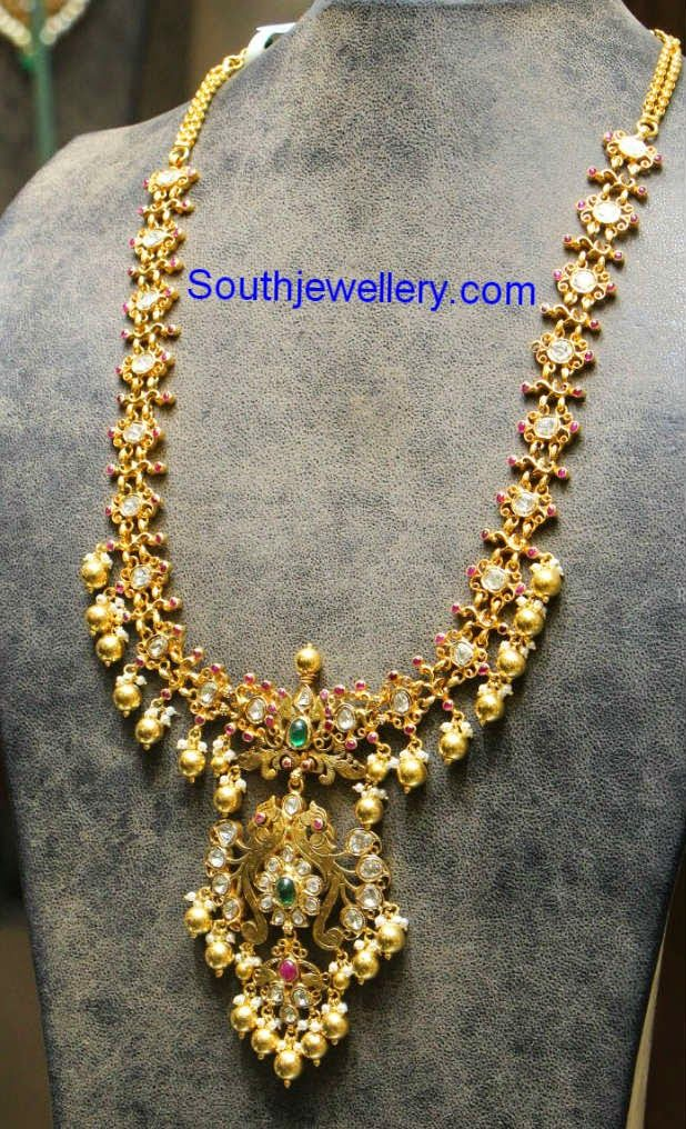 polki diamond antique long chain