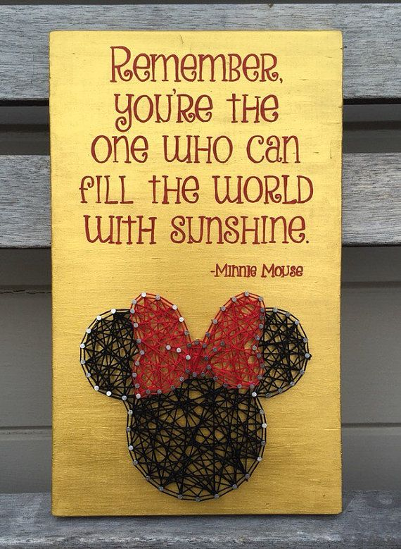 String art Minnie Mouse painted quote by FindingOurLittleWans
