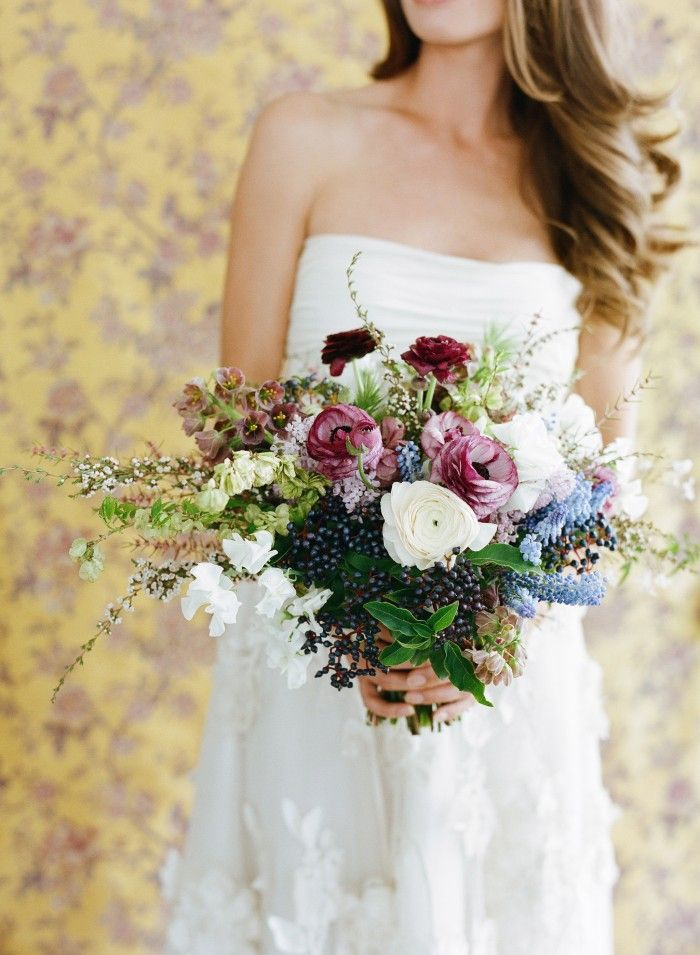 pink white and blue bridal bouquet