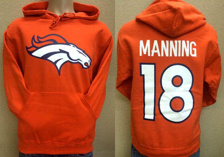 sale retailer 5615a 4f598 denver broncos 18 peyton manning 2014 orange hoodie