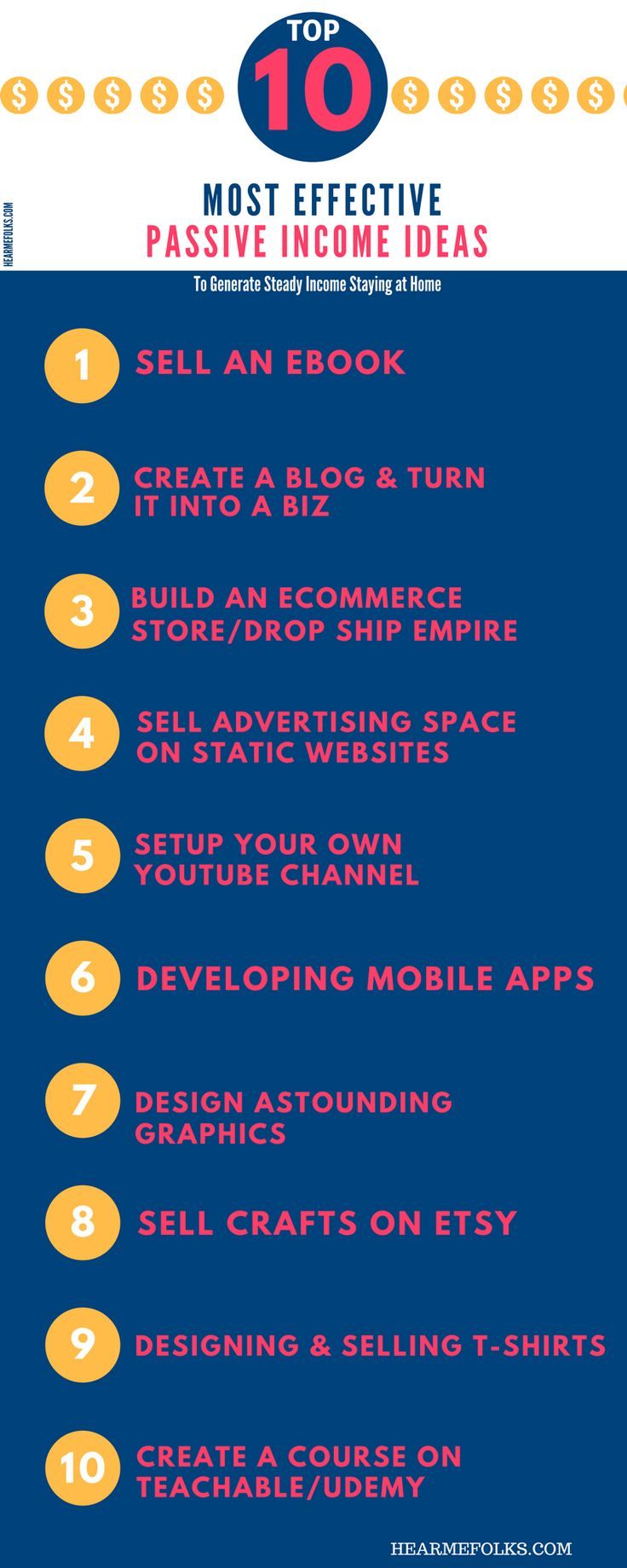 Start building diversity in your income streams this year by utilizing this list of passive income ideas with this infographic. Find one what fits your skills and objectives.