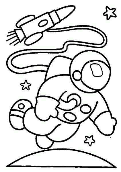 Astronaut and Rocket In Space Coloring Pages