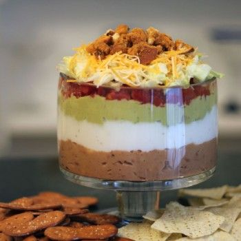 Not'cho Typical 7-Layer Dip  Take this #fanfavorite to your next tailgate party! #easyNotcho Typical, Savory Dips, Recipe, Typical 7 Layered, Sauces, Not Cho Typical, Typical 7Layer, 7Layer Dips, 7 Layered Dips