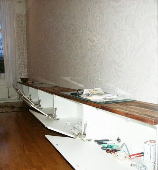 the extra extra long ikea media console hack home ikea media console media cabinet console. Black Bedroom Furniture Sets. Home Design Ideas