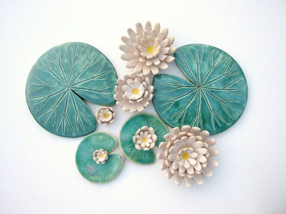 Water lily coaster Handmade ceramic green leaf lily pad MADE TO ORDER