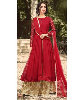 Lavish Red Georgette Salwar Suit With Dupatta.