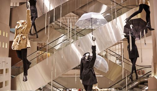 Burberry Hanging Mannequins And Falling Rain Shards In Le