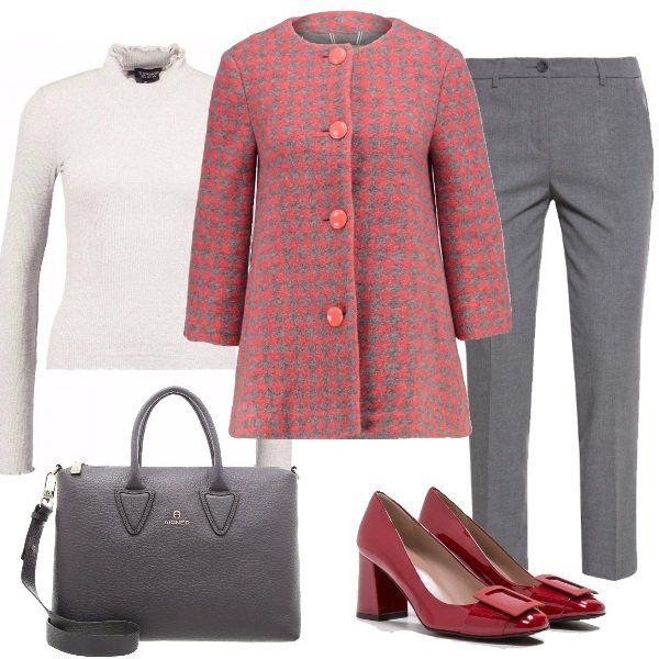 Splendido+outfit+che+racchiude+femminilità+ed+eleganza.+Pantaloni+grey+alla+caviglia+abbinati+a+maglione+cream+a+collo+alto+e+a+cappotto+corto+grey+coral+con+maniche+a+3/4.+Deliziose+le+décolleté+houston+con+tacco+medio+che+insieme+alla+borsa+a+mano+storm+grey+rendono+questo+look+davvero+incantevole.