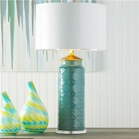 Ceramic Wicker Lamp Base Turquoise