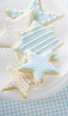 Baby blue and white sugar cookies - would add gold accents for candy buffet table