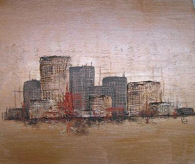 Blog de laurenceszkudlarck peindre l 39 acrylique et les mortiers petit paysage urbain - Peindre a l acrylique ...