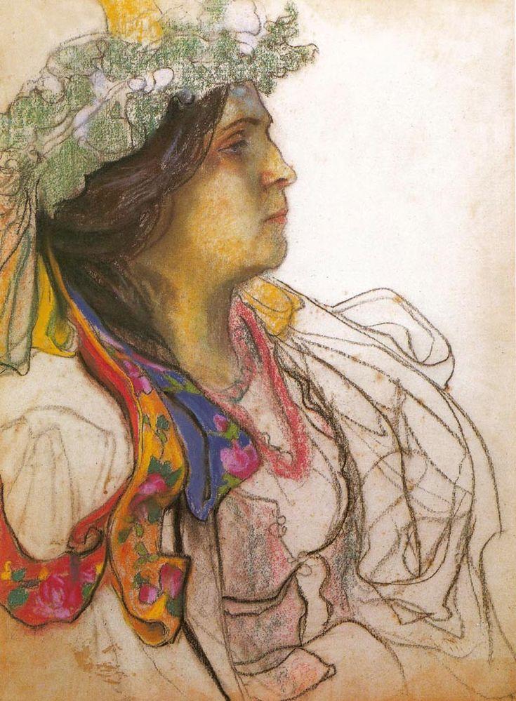 Stanisław Wyspiański,Portrait of the Actress Wanda Siemaszkowa, 1902-03