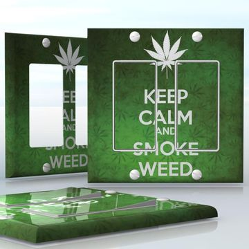 DIY Do It Yourself Home Decor - Easy to apply wall plate wraps   KEEP CALM AND SMOKE WEED  Green weed background with a white leaf  wallplate skin sticker for 2 Gang Decora LightSwitch   On SALE now only $4.95