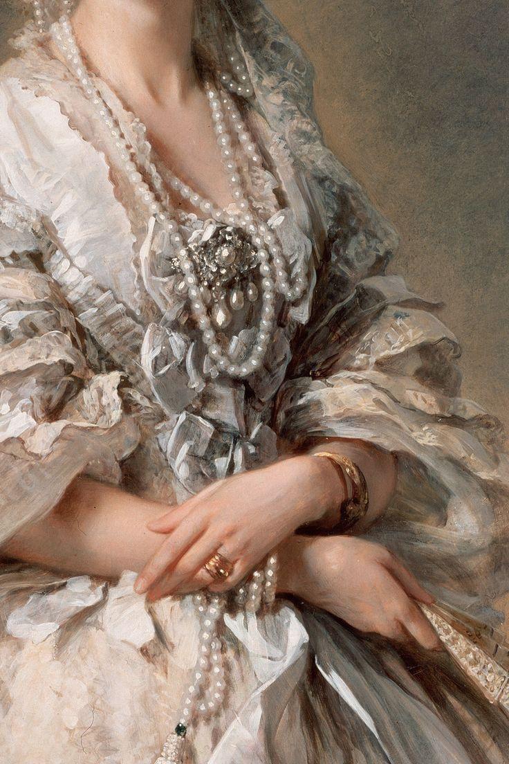 Portrait of Empress Maria Alexandrovna (detail) 1857. Franz Xaver Winterhalter .