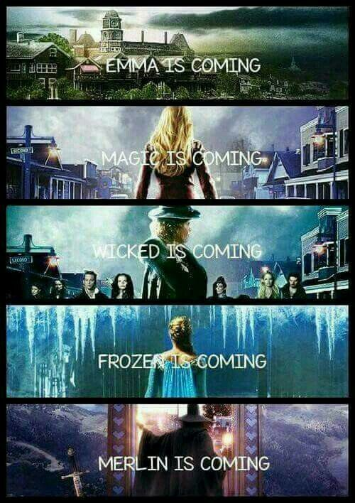 Emma and Magic and Wicked and Frozen and Merlin is comimg to Storybrook (they forgot Peter Pan)