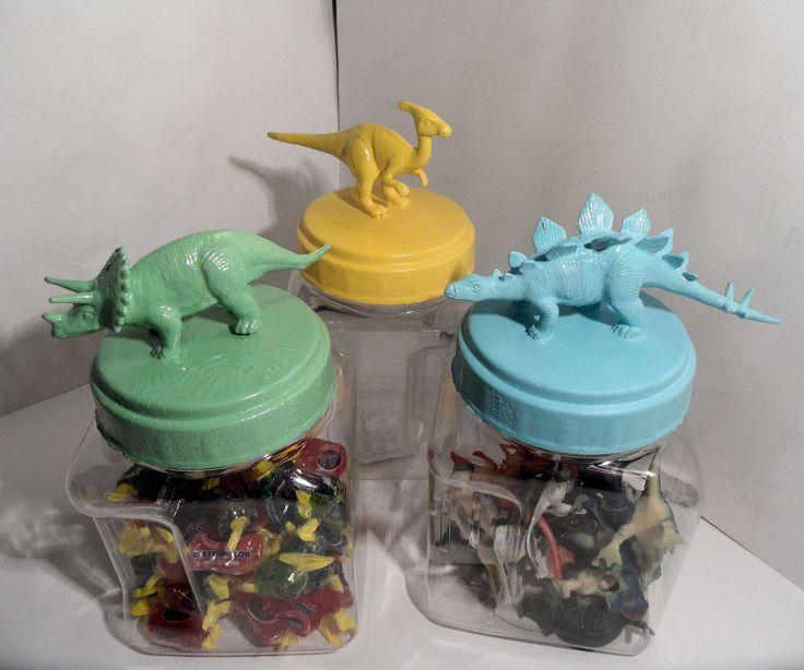 Nursery Or Boys Room Decor Plastic Dinosaur Jars Set Of 3 Baby Shower