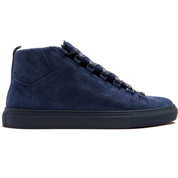 Balenciaga Arena high-top suede trainers (880 720 LBP) ❤ liked on Polyvore featuring men's fashion, men's shoes, men's sneakers, balenciaga mens shoes, mens suede shoes, mens suede sneakers, mens high top shoes and balenciaga mens sneakers