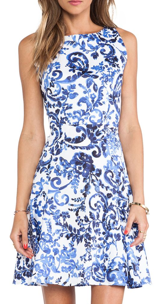 MILLY Delft Print Sleeveless Flare Dress in Multi
