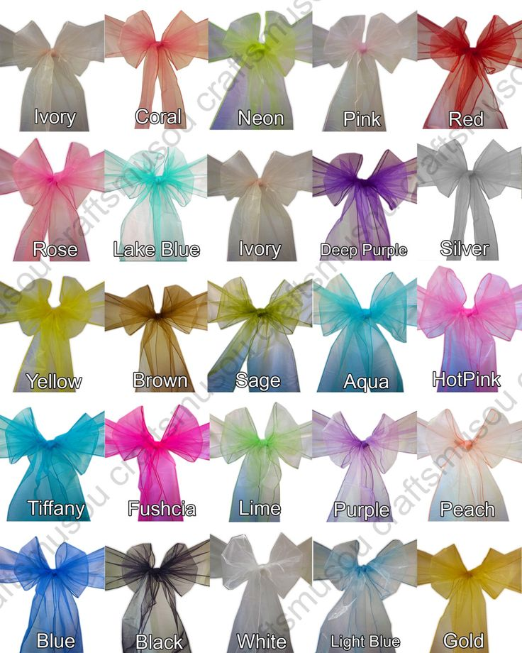 50 pcs Organza CHAIR Bow Sash SASHES Bows Ties - 24 colors by Craftmusou on Etsy https://www.etsy.com/listing/169275754/50-pcs-organza-chair-bow-sash-sashes