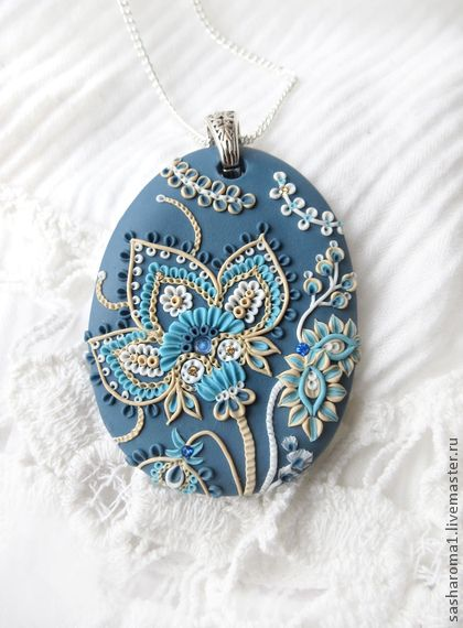 """pendant polymer clay, """"Russian chintz"""", by Natalia A. of Moscow"""