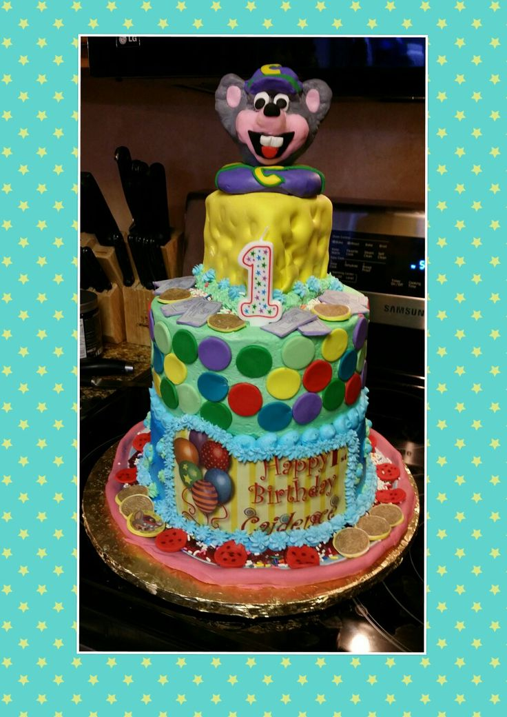 Chuck cheese cake topper of rice crispy treats cheese