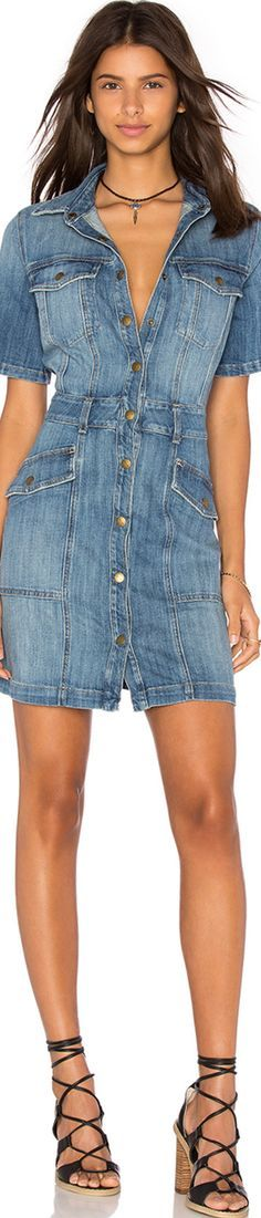 denim dress @roressclothes closet ideas women fashion outfit clothing style apparel OBECNY / Elliott trucker koszuli