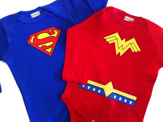 Cutest ever Boy/Girl twin set! Wonder Woman and Superman. Also available in Batman and Robin.