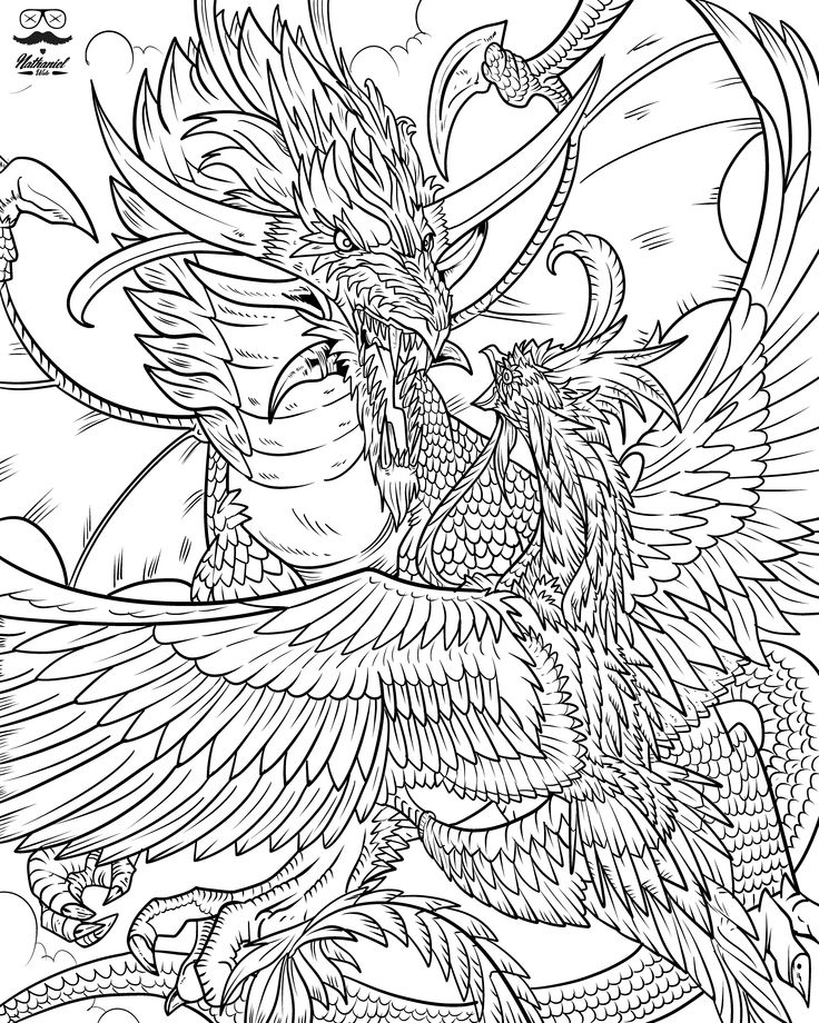 From Nathaniel Wakes Adult Coloring Book Dragon Life Find This Pin And More