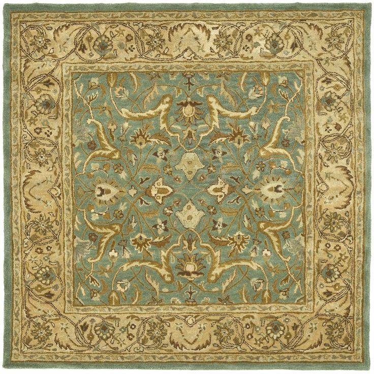 Blue And Beige Heritage Hand Tufted Wool Area Rug 6u0027 X 6u0027 Square