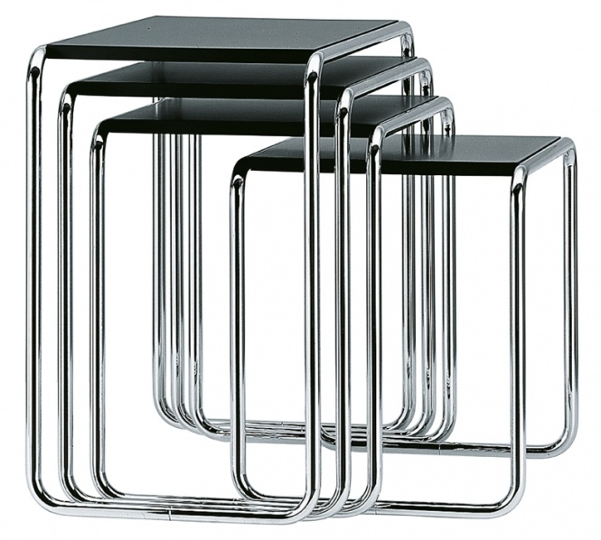 Marcel Breuer, model B-9 nesting tables.