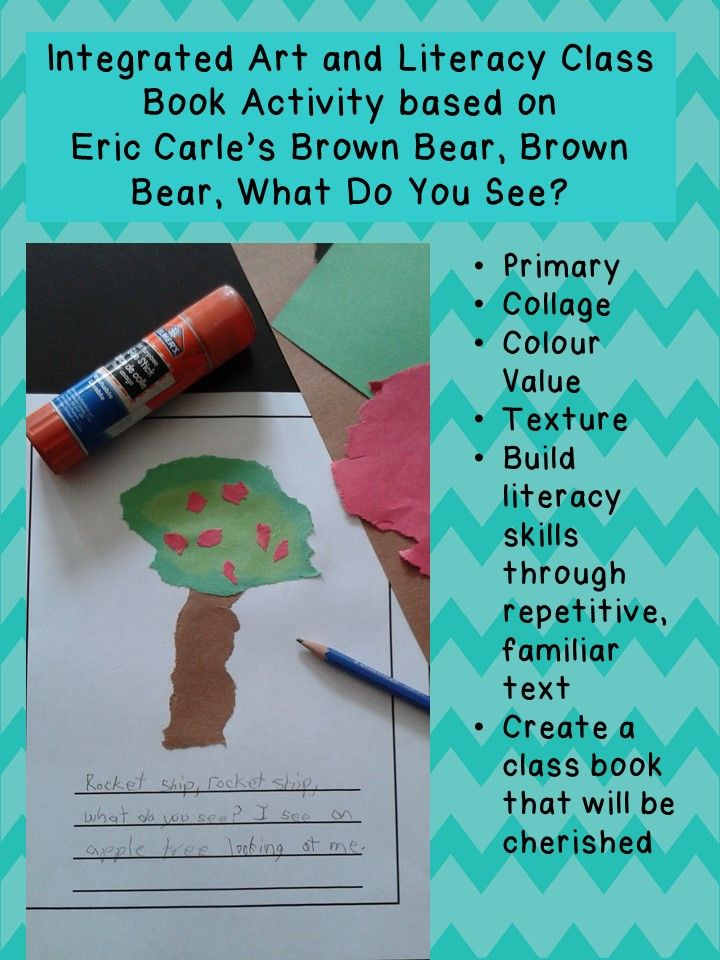Fall, Halloween, Thanksgiving, or wherever your students' imaginations take them! Learn about collage, color values, texture, and create a beautiful class book based on Eric Carle's Brown Bear, Brown Bear, What Do You See?