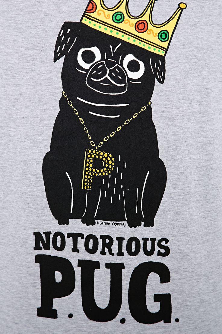 Design t shirt uk - Gemma Correll Notorious Pug Tee In Grey Crazy T Shirts Guys