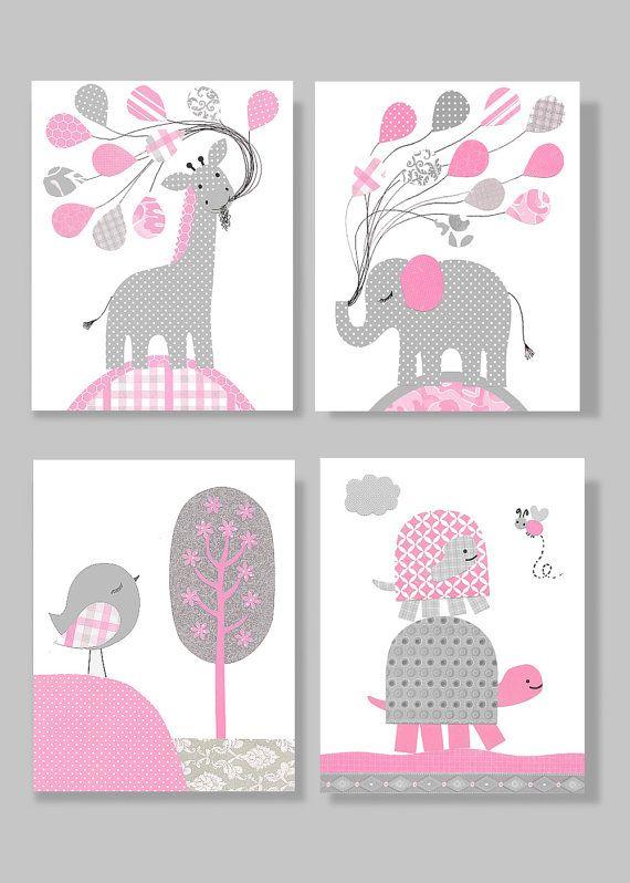 Gray and Pink Nursery Art Elephant Bird Turtle Giraffe Nursery Baby Decor Girl's Room Toddler Decor 8 x 10 or 11 x 14 Set of 4 Prints Canvas...