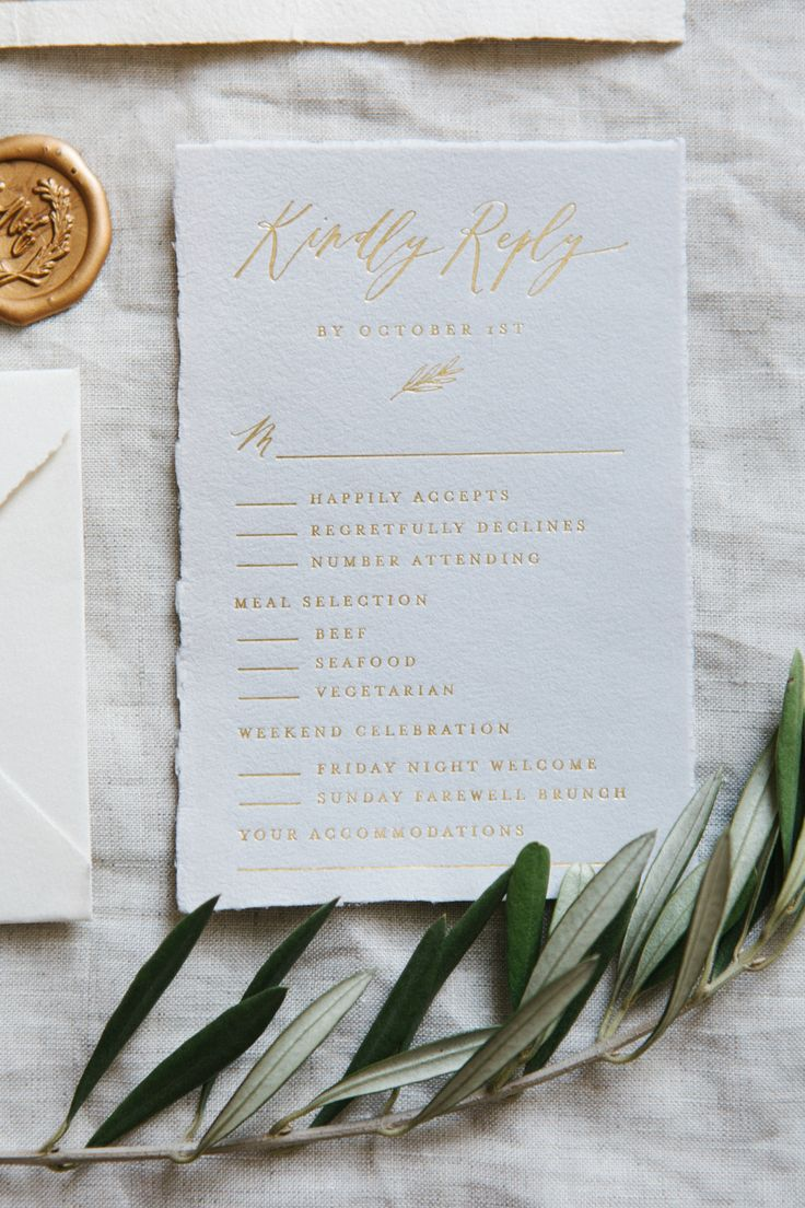 Gold Foil Response Card on Gray Handmade Paper // Calligraphy and Design by: Written Word Calligraphy // Olive Branches