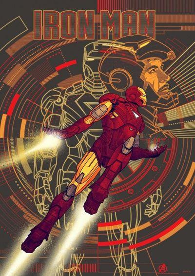 Iron Man (Homem de Ferro) Cartoon Quadro Decorativo feito em:  * Base em MDF  * Papel fotográfico Glossy de alta qualidade * Tamanho de 21 cm x 29,7 cm * Bordas com espessura de 2 cm na cor preta ou madeira crua