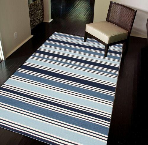 Seaside Blue And Vanilla Striped Area Rug