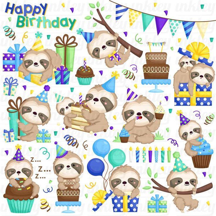 Birthday Sloth Clipart Cute Sloth Clip Art Birthday Party