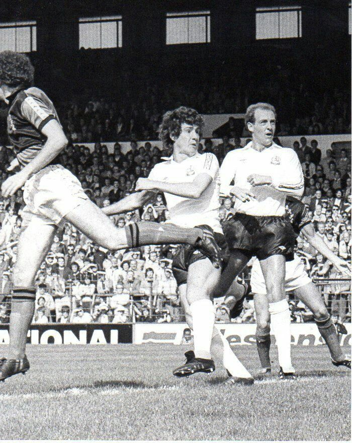 Bolton 2 Bristol Rovers 0 in Sept 1980 at Burnden Park. Brian Kidd puts his chance wide in the Division 2 clash.