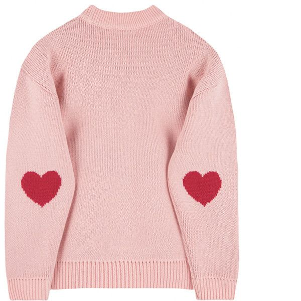 HEART CLUBEmbroidered Logo With Elbow Heart Accent Knit Sweater |... ($4.10) ❤ liked on Polyvore featuring tops, sweaters, heart sweater, loose tops, knit top, bunny sweater and pink knit top
