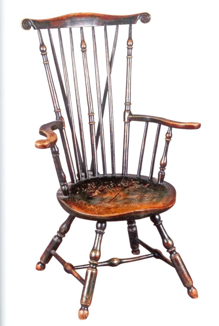 Rare Fan Back Windsor Armchair, Philadelphia, Ca. 1750 65. Mixed