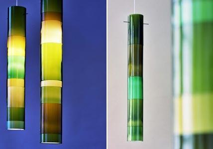 Hängeleuchten erscheinen wie Bambusrohre - from bottles