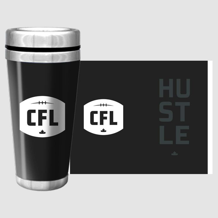 CFL HUSTLE TRAVEL MUG / Tasse de voyage HUSTLE de la LCF. 16oz travel mug with stainless steel inner, featuring full wrap graphic design.  Be bold in your support of the CFL with a HUSTLE travel mug.   Full wrap design includes NEW Canadian Football League logo.
