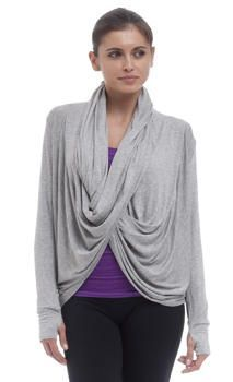 5-Way Drape Wrap.  I wrap it, tie it in the back and use as a savasana blanket - this is a fabulous piece. - Electric Yoga