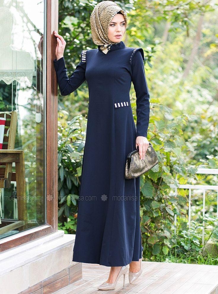 Metal Detail Dress - Navy Blue - Tunics - Modanisa