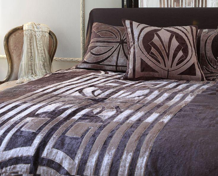 Hollywood designer bedspread in Pewter and Taupe velvet appliqued art deco design sizes up to super king 300 x 300cm