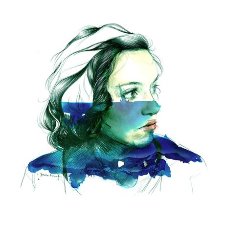 Portrait of a girl/woman by Paula Bonet. Double exposure painting